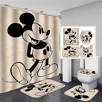 N//A Beige Cartoon Mickey Mouse Protect Privacy Cortina de Ducha Cortina de Ducha Impresa es f/ácil de Quitar