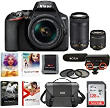 Nikon D3500 DSLR Camera with 18-55mm VR and 70-300mm Lenses Bundle with Nikon Bag, 128GB Card, Video Mic and Accessories (7 Items)