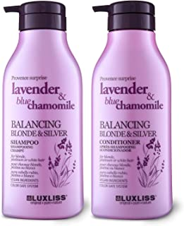 Luxliss Purple Shampoo and Conditioner for Blonde Hair, Natural Sodium Sulfate Free Shampoo Set with Lavender Oil & Blue C...