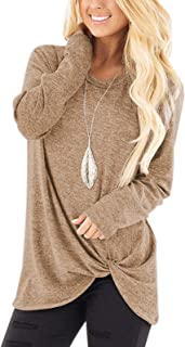 Women's Soft Casual Tops Shirts Fashion Twist Knotted Blouses Short Sleeve Long Sleeve Round Neck Tunic T Shirt