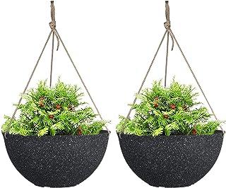 """LA JOLIE MUSE Large Hanging Planters for Outdoor Indoor Plants,Speckled Black Hanging Flower Pots(13.2"""",Set of 2)"""