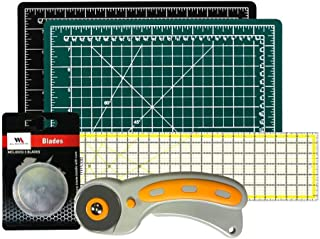 WA Portman Rotary Cutter Set I Rotary Fabric Cutter with 5 Extra Cutter Blades I 9x12 inch Self Healing Cutting Mat and 6x24 Inch Quilting Ruler in a Sewing Quilting Craft Supplies Set