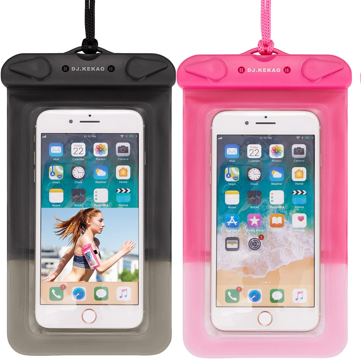 2 Pack Waterproof Float Phone Pouch with Neck Trap and Armband,Waterproof Phone case, Dry Bag Outdoor Beach Bag for iPhone, Samsung Galaxy, and Other Phones Up to 6.9'' (Black+Pink)