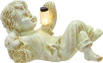 منحوتات وتماثيل الحديقة ، جرة اليراع بإضاءة شمسية للأطفال، تماثيل حديقة مزخرفة في الهواء الطلق، ديكور منحوتات تمثال ولد فت...
