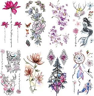 Yesallwas 8 Sheet cute Temporary Tattoo Sticker Fake Tattoos for Women Girls Models,Waterproof Long Lasting Body Art Makeup Sexy Tattoos-Flowers,rose,lotus,Mermaid,dreamcatcher,butterfly (A)