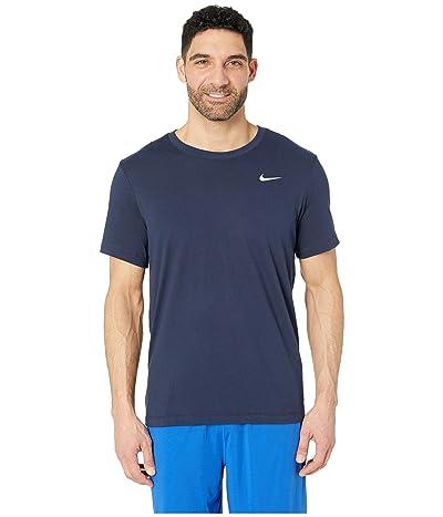 Nike Dry Tee Dri-FITtm Cotton Crew Solid (Obsidian/Matte Silver) Men