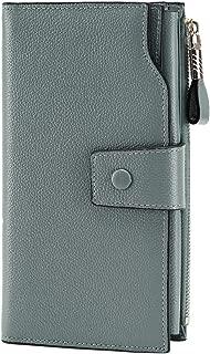 Women's RFID Blocking Large Capacity Luxury Wax Genuine Leather Clutch Wallet Card Holder Organizer Ladies Purse Pebbled Light Blue