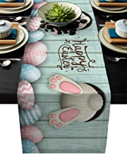 T&H XHome Durable Fabric Table Runner,Happy Easter Funny Rabbit Pink and Blue Eggs Washable Linen Table Runners for Home/K...