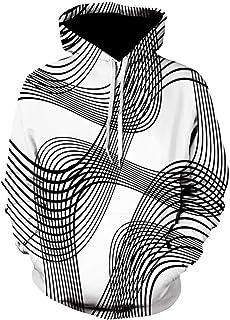 3D Digital Vortex Printed Long Sleeve Hooded Sweatshirt Tops BlouseMen
