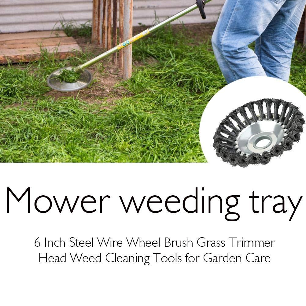 Corwar - Cabezal de cepillo de alambre de 6 pulgadas de acero para desbrozadora, limpieza de malas hierbas herramientas para el cuidado del jardín moderno: Amazon.es: Bricolaje y herramientas