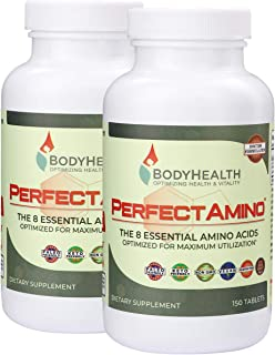BodyHealth PerfectAmino Tablets, (2-Pack) All 8 Essential Amino Acids with BCAAs + Lysine, Phenylalanine, T...