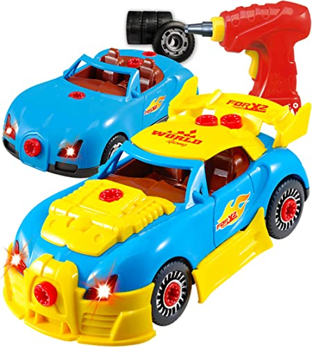Think Gizmos Take Apart Racing Construction Car Toy for Boys and Girls Ages 3,4,5,6,7 - 30 Piece Set with Working Dri...