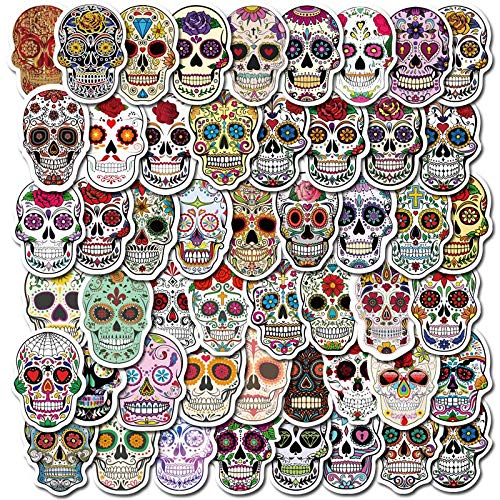 Halloween Skull Stickers Pack of 50 Stickers for Laptops, Funny Merchandise Laptop Stickers for Laptops, Computers, Hydro Flasks, Skateboard and Travel Case
