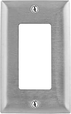 Bryant Electric SS26 1-Gang 1 Decorator/GFCI Opening 302/304 Metallic Wall Plate, Stainless Steel, With Removable White Protective Film , Silver