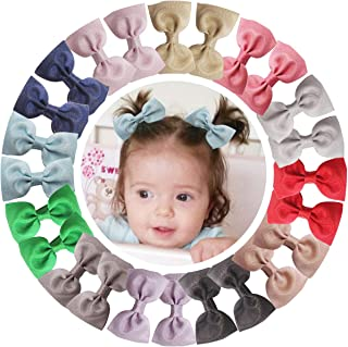 DeD 24 Pcs 2.75 Inch Hair Bow Alligator Clips for Baby Girl Boutique Polyester Ribbon Hair Bands Hair Accessories for Newborn Infant Toddler Kid