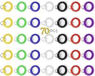 Sansheng 35 Sets of of Retractable Plastic Bracelet, Wrist Coil, Wrist Band, Key Ring Clip Label (35pcs-7 Mixed Color)