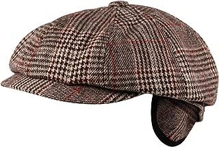 Luxury 8 Panel Ear Flap Flat Cap Hat Baker Boy Newsboy Wool Tweed Check Brown Grey