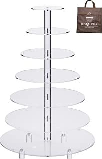 Jusalpha Large 7-Tier Acrylic Round Wedding Cake Stand-Cupcake Stand Tower-Dessert Stand-Pastry Serving Platter-Food Display Stand For Large Event (Large With Rod Feet Base) (7RF)