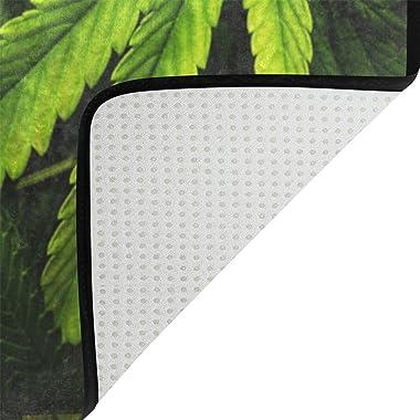 COOSUN Cannabis Texture Feuille de Cannabis Pile Tapis Tapis antidérapant Tapis Paillassons pour Living Room Chambre 78,7 x 5