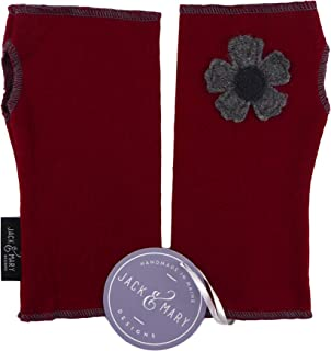 Jack & Mary Designs Fingerless Gloves with Flower - Made From Recycled Sweaters