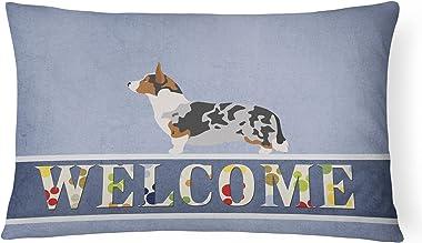 Caroline's Treasures BB8313PW1216 Welsh Corgi Cardigan Welcome Canvas Fabric Decorative Pillow, 12H x16W, Multicolor