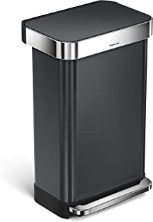 simplehuman 45 Liter / 12 Gallon Stainless Steel Rectangular Kitchen Step Trash Can with Liner Pocket, Black Stainless Steel