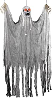 Halloween Haunters Animated Hanging Scary Shaking Skull Reaper Door or Wall Curtain Prop Decoration - Red LED Flashing Eyes, Screams, Moans, Laughs - Haunted House, Graveyard, Tree, Entryway Display