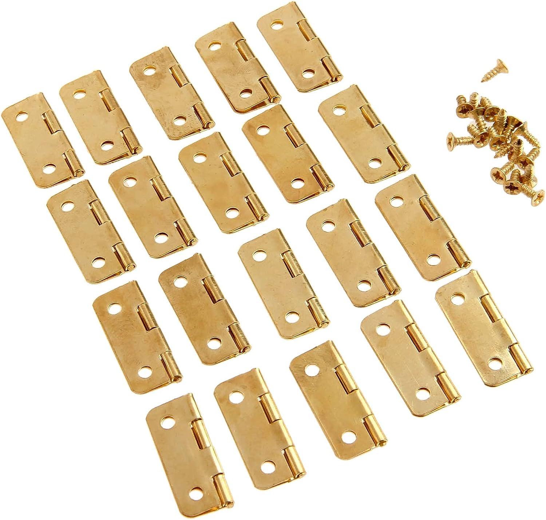 XJS Durable 20pcs 4pcs Gold Our shop OFFers the best service +Screws Iron Hinges Hinge Decorative Max 50% OFF
