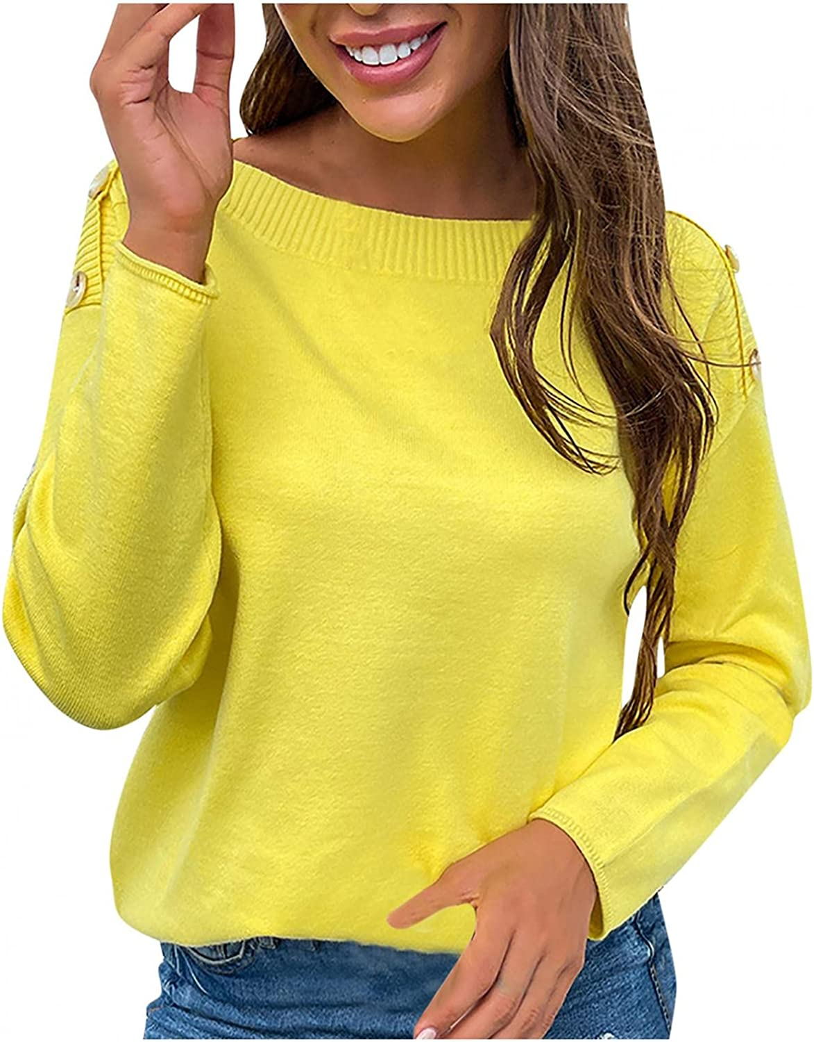 Afelkas Sweaters for Women O-Neck Shoulder Buttons Pullover Solid Color Casual Bottoming Shirt Loose Cozy Knitwear