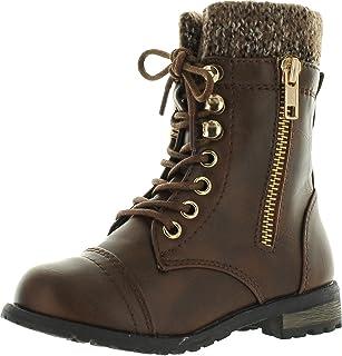 1cda88541e9 JJF Shoes Mango-31 Kids Round Toe Military Lace Up Knit Ankle Cuff Low Heel