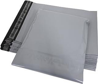 宅配ビニール袋 厚手 80ミクロン 特大サイズ 44cm×53cm+フタ5cm 透けない スカイグレイ&ブラック 強力テープ付き 20枚 100枚 200枚 500枚 (20枚)