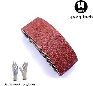 4x24 Sanding Belts, Aluminum Oxide Belt Sander Belts 4 x 24, 2 Each of 40 60 80 120 180 240 400 Grits,14 Pack(4x24 Inch)