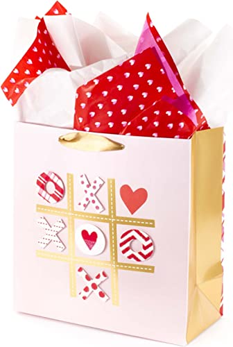 """Hallmark Signature 10"""" Large Gift Bag with Tissue Paper - Tic Tac XOXO for Anniversary, Valentines Day, Engagements, ..."""