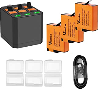 Vemico - Batería de repuesto para Gopro Hero 7/6/5 Black Hero 2018 3 baterías recargables (1500 mAh) y 3 canales de carga USB tipo C con Go Pro Action Cam 3 unidades