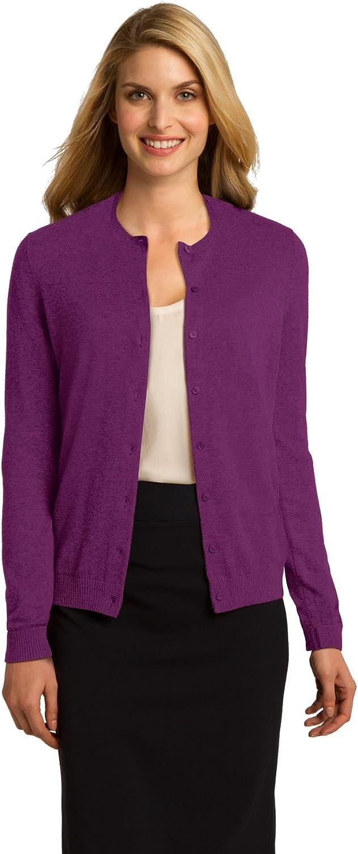 Port Authority Ladies Cardigan Sweater. LSW287 Deep Berry
