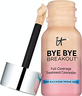 IT Cosmetics Bye Bye Breakout Concealer, Light (W) - Drying Lotion + Full-Coverage Treatment Concealer - Covers Blemishes, Acne, Redness & Discoloration - With Hydrolyzed Collagen - 0.35 fl oz