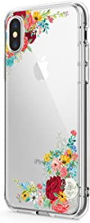 iPhone XS/XR Case, Clear Soft & Flexible TPU Ultra-Thin Shockproof Transparent Girls and Women Floral Cover for iPhone XS max