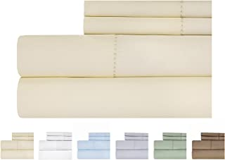 Weavely Cotton Bed Sheets Set - Hemstitch Bedsheet 500 Thread Count 100% Cotton Queen Sheet Set, 4-Piece Bedding Set, Elastic Deep Pocket Fitted Sheet, Ivory