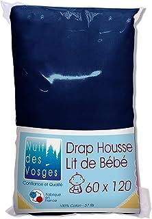 Nuit des Vosges 2237016 Cotoval Drap Housse Bébé Uni Coton Marine 60 x 120 cm