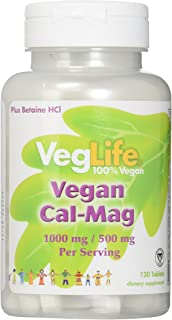 VegLife Vegan Cal-Mag Vegan Tablet, 1000 mg, 120 Count