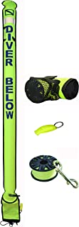 DiveSmart 7ft Scuba Diving Closed Bottom Surface Marker Buoy (SMB) with High Visibility Reflective Band, Strobe Light or Flashlight Holder Includes 100ft Finger Spool ABS Dive Reel and Whistle