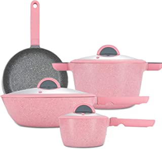 Smittel 7 Pieces Nonstick Cookware Set Pink - Induction Stovetop Milk Pots Woks Casserole with Lids and Frying Pans¡