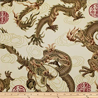 Trans-Pacific Textiles Beige Asian Good Luck Dragon with Gold Fabric by The Yard