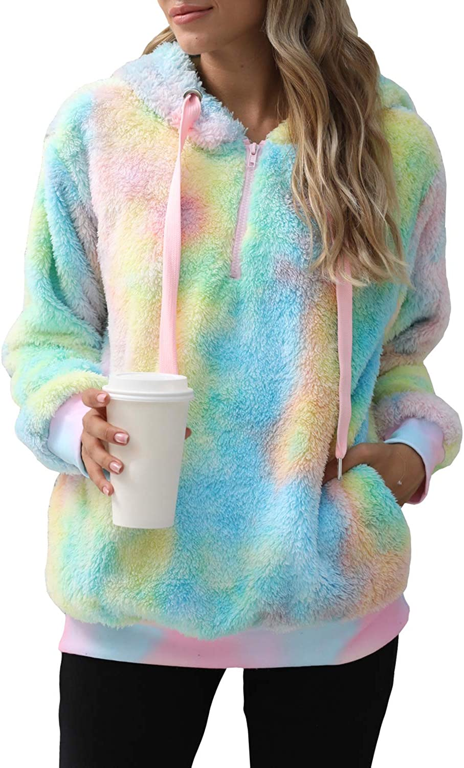 ReachMe Women's New products world's Max 66% OFF highest quality popular Tie Dye Sherpa with Fuzzy Oversiz Hoodie Pockets