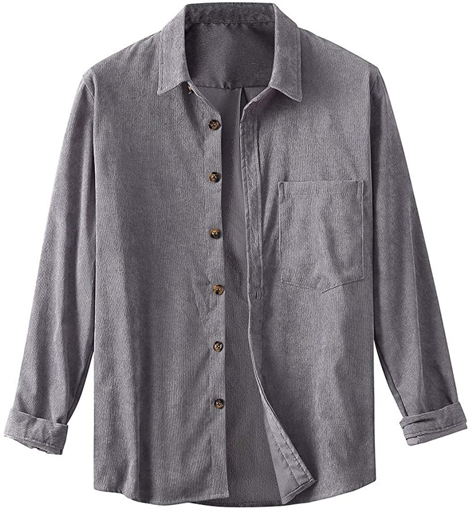 MODOQO Men's Button Down Shirts Long Sleeve Casual Corduroy Turn-Down Collar Tops