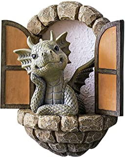 Lovely Courtyard Dragon Sculpture,Garden Dragon Statue Resin Decoration Outdoor Courtyard Decoration (B: Small Balcony)