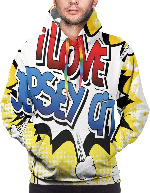 Men's Hoodies Sweatshirts,Comic Book Style Pop Art Dotted Design I Love Argentina Phrase On Beamed Figure