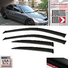 VITO 4pcs Side Window Deflectors Original Window Visors For 2001 2002 2003 2004 2005 Honda Civic 4 Door Sedan Vent Visor Sun/Rain Guard
