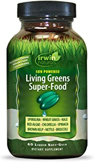 Irwin Naturals Sun Powered Living Greens Super-Food - Whole Food Concentrates with Spirulina, Wheat Grass, Chlorella, Dige...