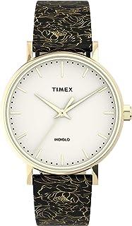 Timex Women's Fairfield 37mm Quartz Leather Strap, Black, 18 Casual Watch (Model: TW2U40700VQ)